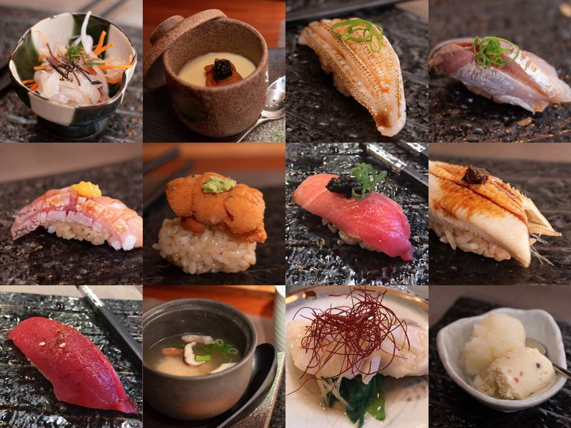 It's as much about the steak as it is the sushi at the reimagined Feng in downtown Hartford - A sample of the Omakase 17-course, $110 tasting menu at Feng Chophouse. (Lindsay Bukowinski / Hartford Courant)